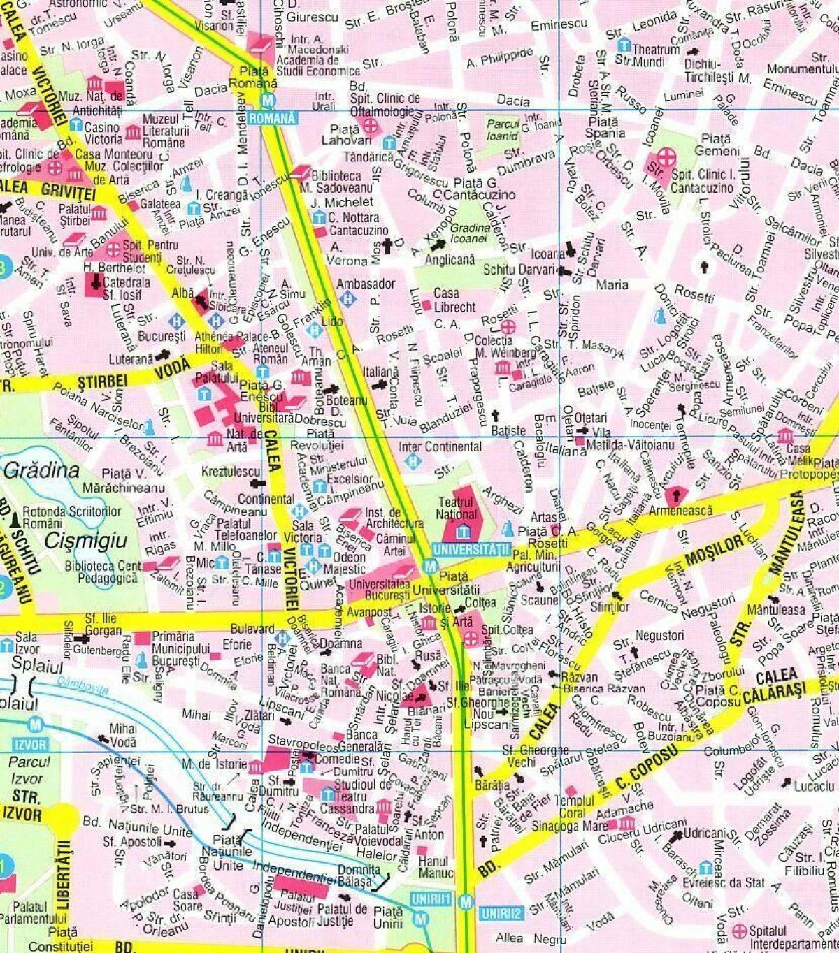 מגניב ביותר בוקרשט מרכז המפה - המפה של מרכז העיר בוקרשט (רומניה) IR-89